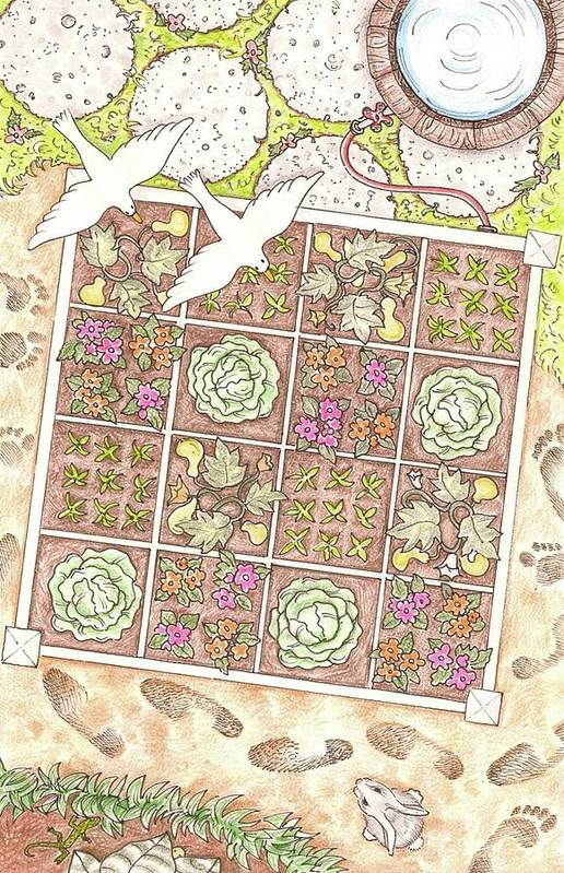 Gardening Art Print featuring the drawing Gardening By The Foot by Jennifer Harper