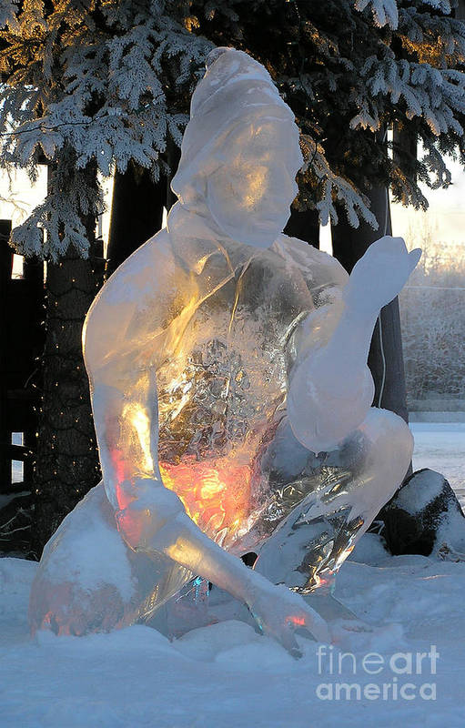 Ice Sculpture Art Print featuring the photograph Gold Miner by Louise Magno