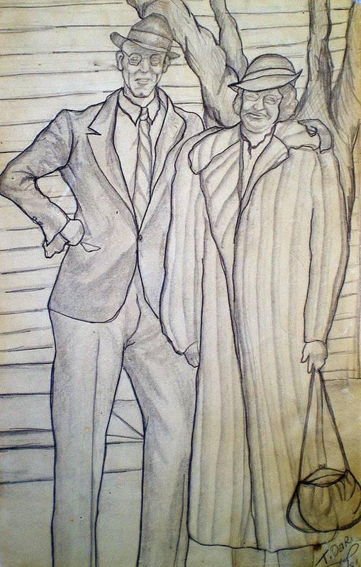Grandparents Art Print featuring the drawing Grandma And Grandpa Albee by Tammera Malicki-Wong