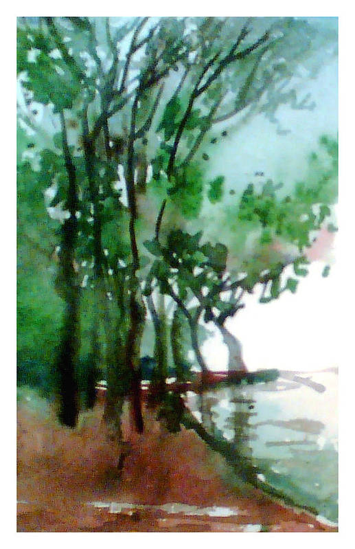 Water Color Art Print featuring the painting Greens by Anil Nene