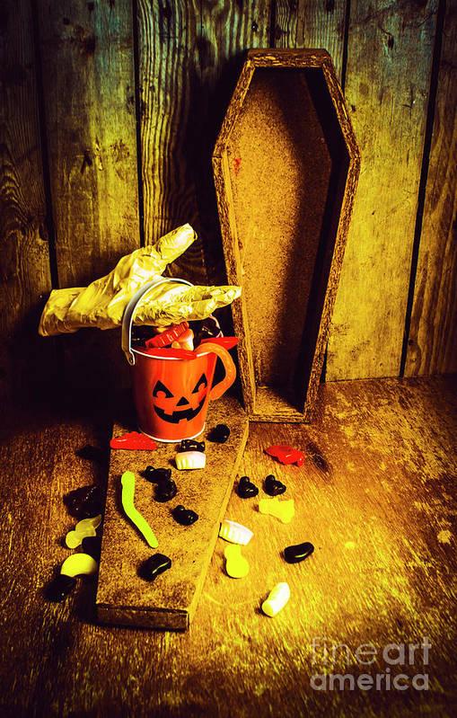 Pumpkin Art Print featuring the photograph Halloween Trick Of Treats Background by Jorgo Photography - Wall Art Gallery