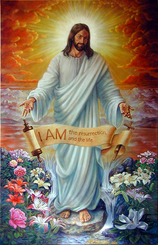 Jesus Christ Art Print featuring the painting I Am The Resurrection by John Lautermilch