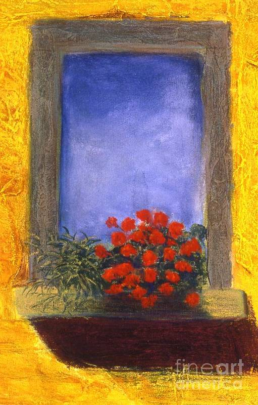 Colorful Art Print featuring the painting La Finstra Con I Fiori by Mary Erbert