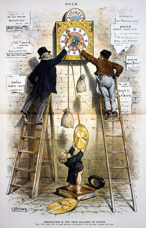 1880s Art Print featuring the photograph Labor Movement. Editorial Cartoon by Everett