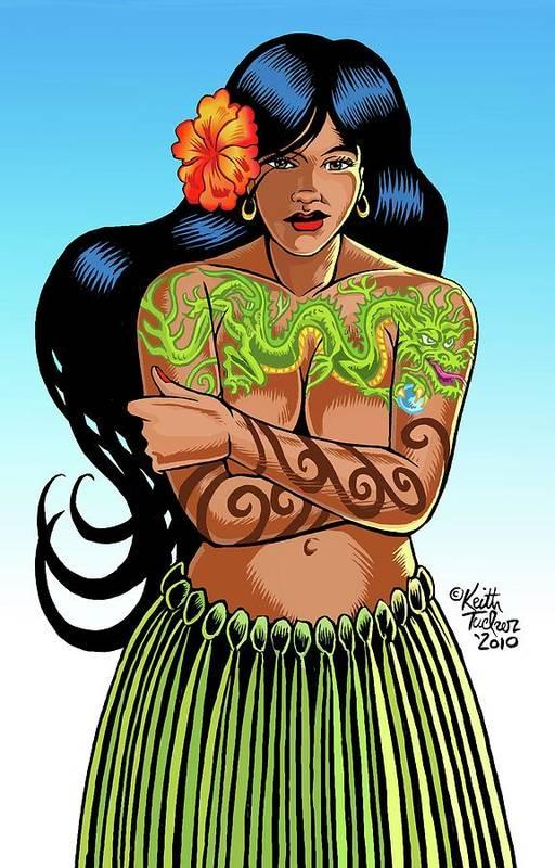 Art Print featuring the digital art Leilani The Dragon Tattooed Wahine by Keith Tucker