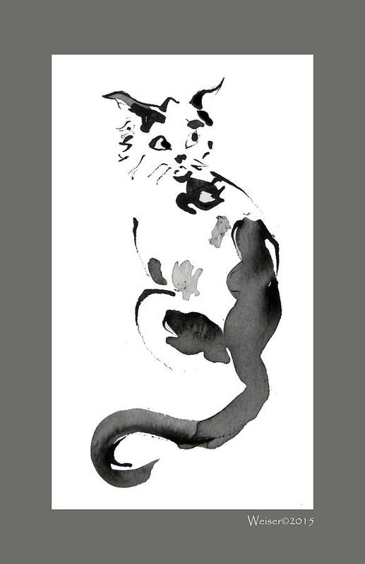 Cat Art Print featuring the painting Meow by Dennis Weiser