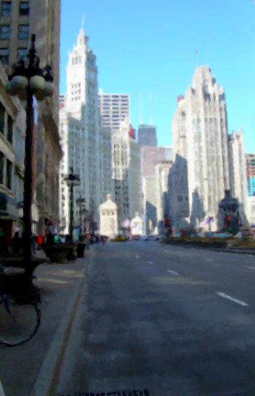 Chicago Art Print featuring the digital art Michigan Ave Tall by Anita Burgermeister