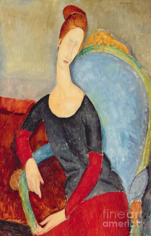 Mme Hebuterne In A Blue Chair Art Print featuring the painting Mme Hebuterne In A Blue Chair by Amedeo Modigliani