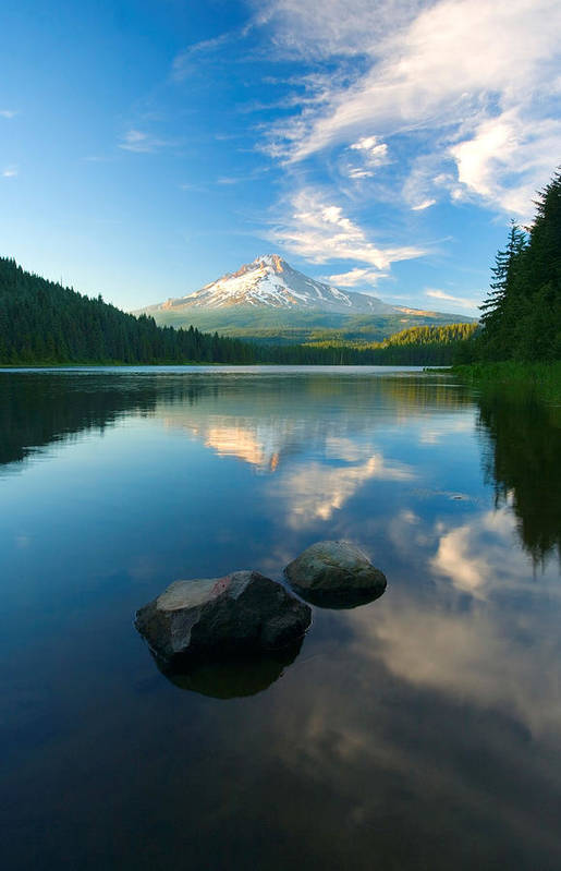 Mt. Hood Art Print featuring the photograph Mt. Hood Cirrus Explosion by Mike Dawson