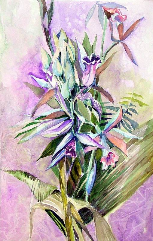 Orchid Art Print featuring the painting Nun's Hood by Mindy Newman
