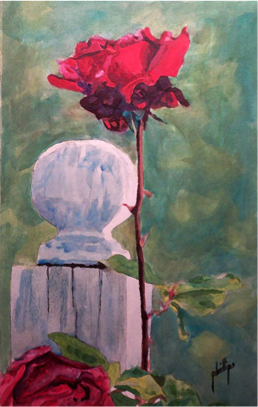 Post Art Print featuring the painting Post And The Rose by Jim Phillips