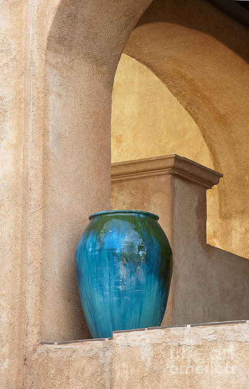 Southwest Art Print featuring the photograph Pottery And Archways by Sandra Bronstein