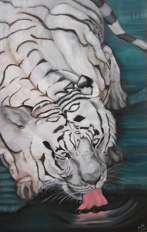 Tiger Art Print featuring the painting Quidado by Alessia Orlandi
