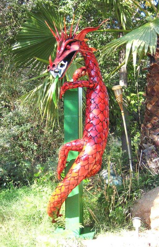 Dragon Art Print featuring the photograph Red Dragon On Post by Robert Findley