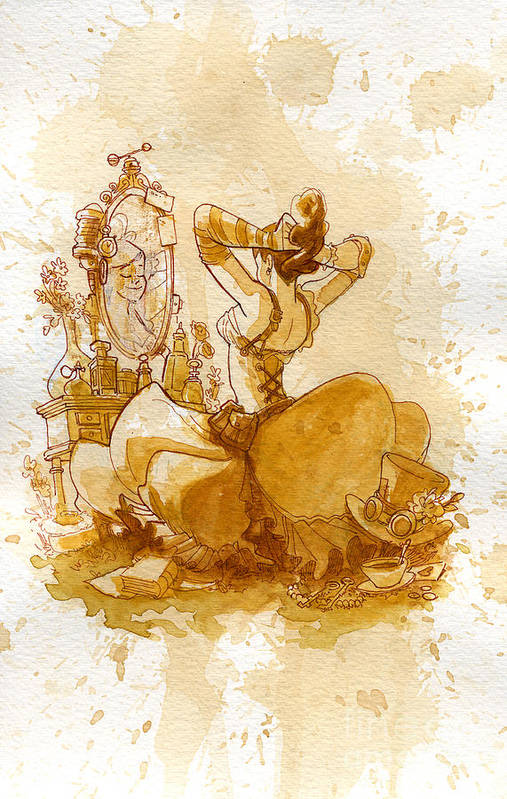 Steampunk Art Print featuring the painting Reflection by Brian Kesinger