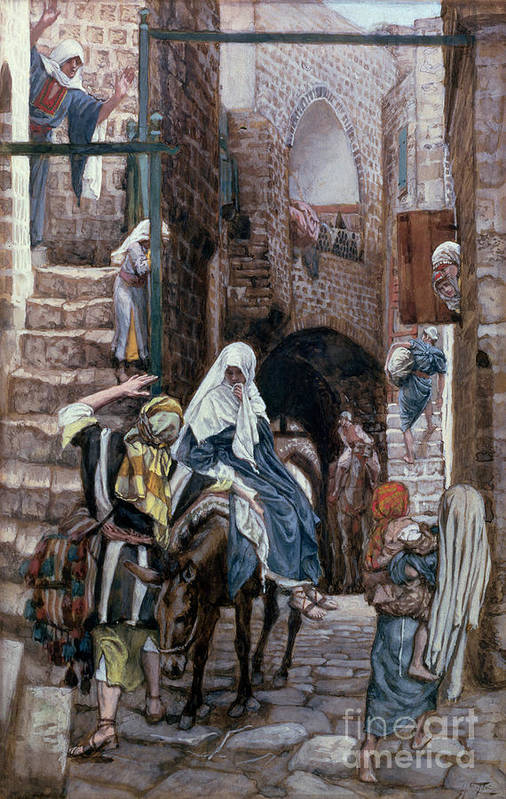 Joseph Art Print featuring the painting Saint Joseph Seeks Lodging In Bethlehem by Tissot