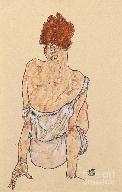 Seated Woman In Underwear Art Print featuring the drawing Seated Woman In Underwear by Egon Schiele