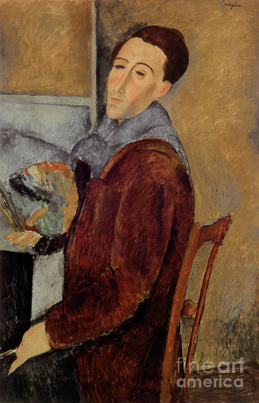Self Art Print featuring the painting Self Portrait by Amedeo Modigliani