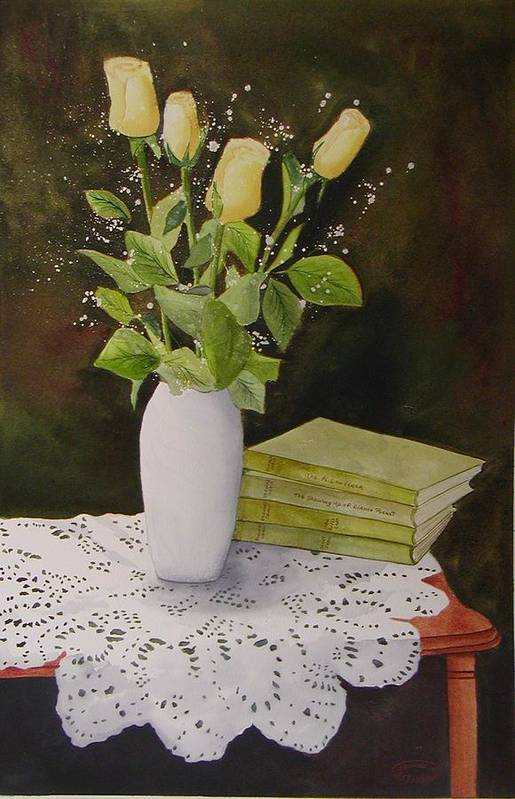 Watercolour Art Print featuring the painting Shaw And Yellow Roses by Sharon Steinhaus