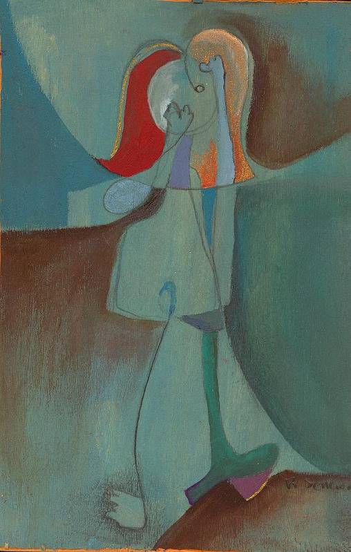 Abstract Art Print featuring the painting She Thinks She Walks On The Moon by Ricky Sencion