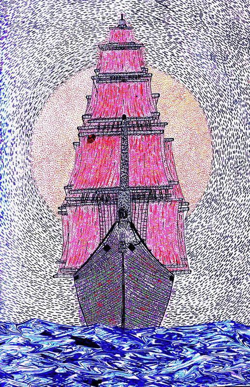 Ship Sun Ship Sea Art Print featuring the painting Ship In Sun by Yury Bashkin