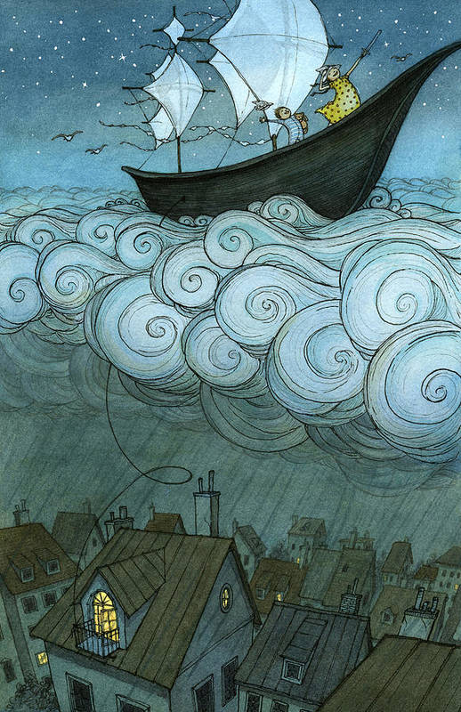 Art Print featuring the drawing Sky Sailing by Eliza Wheeler