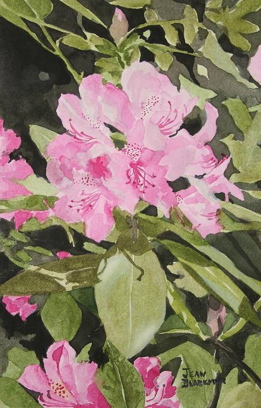 Flowers Art Print featuring the painting Spring At The Cabin by Jean Blackmer