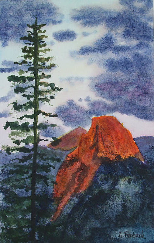 Yosemite Art Print featuring the painting Sunset At Half Dome by Ally Benbrook