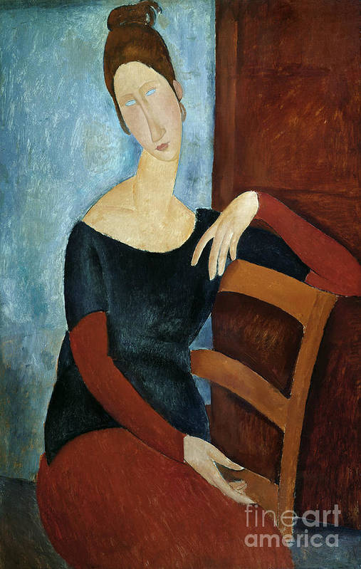 The Art Print featuring the painting The Artist's Wife by Amedeo Modigliani