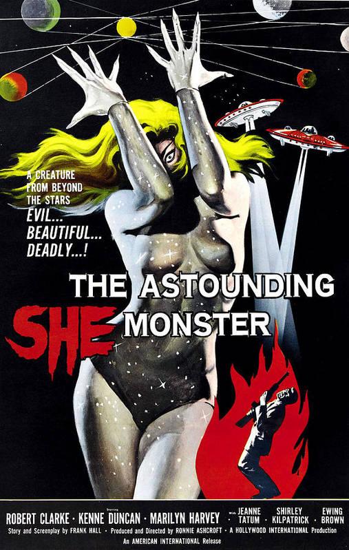 1950s Poster Art Art Print featuring the photograph The Astounding She-monster, 1-sheet by Everett