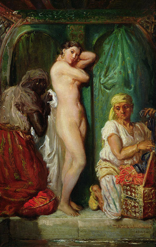 The Art Print featuring the painting The Bath In The Harem by Theodore Chasseriau