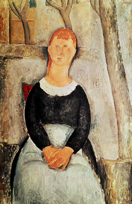 The Art Print featuring the painting The Beautiful Grocer by Amedeo Modigliani
