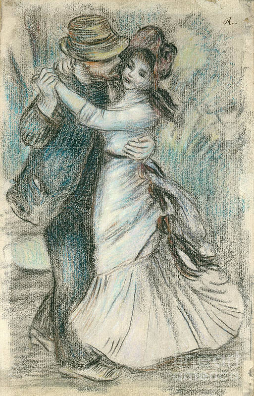 The Art Print featuring the drawing The Dance by Pierre Auguste Renoir