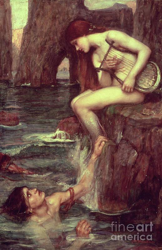 The Siren Art Print featuring the painting The Siren by John William Waterhouse