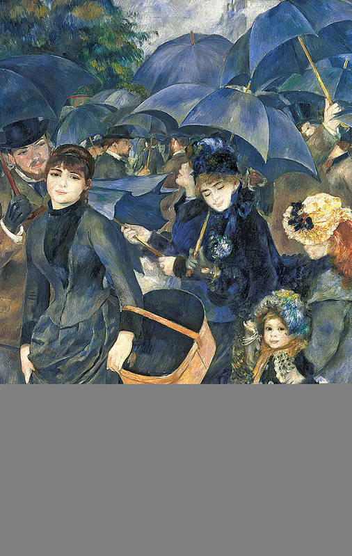 The Art Print featuring the painting The Umbrellas by Pierre Auguste Renoir