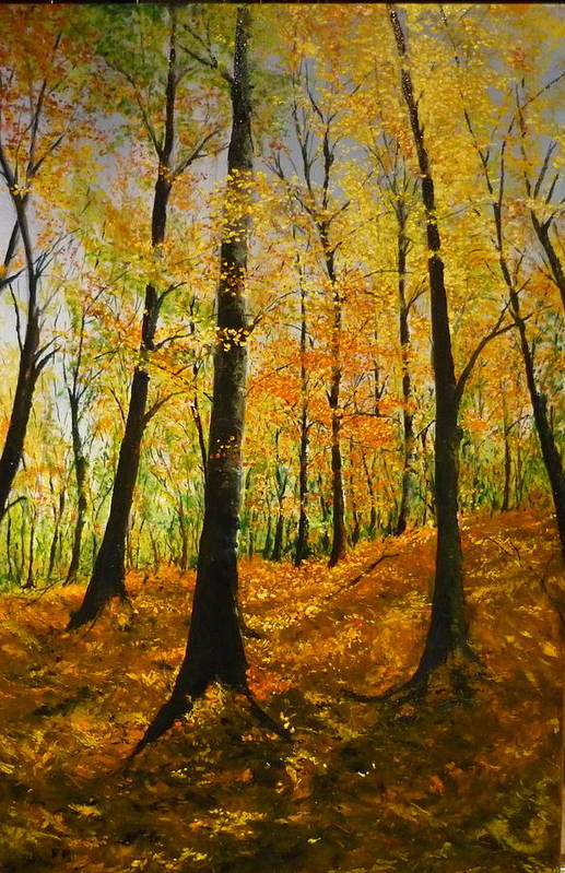 Fall Art Print featuring the painting The Wood For The Trees by Lizzy Forrester