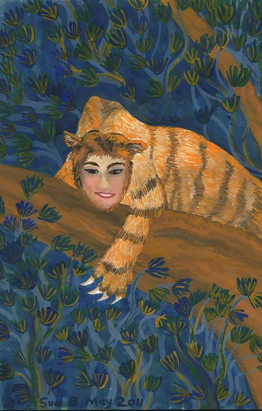 Sphinx Art Print featuring the painting Tiger Sphinx by Sushila Burgess