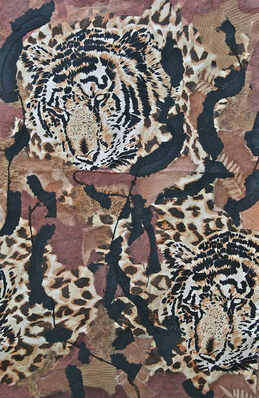Mix Media Print featuring the mixed media Tigers Tigers Burning Bright by Ruth Edward Anderson