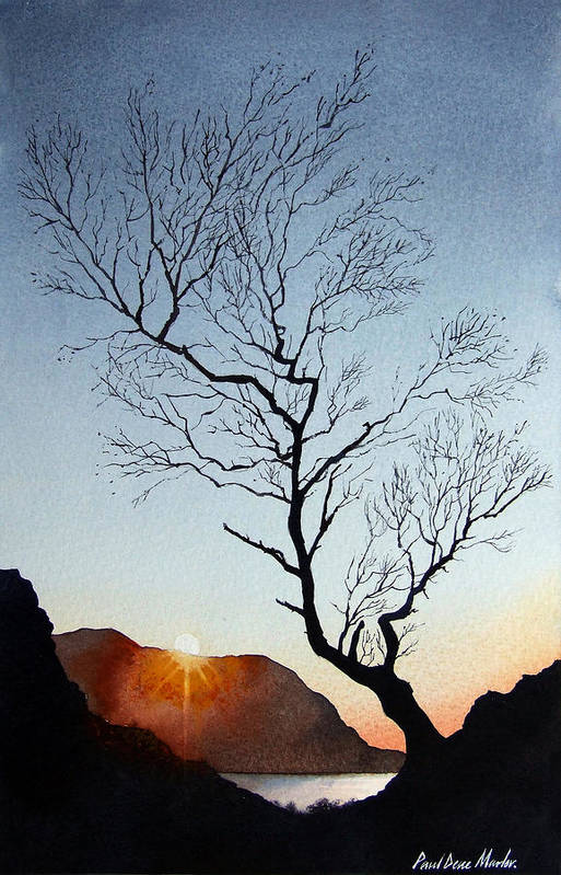 Landscape Art Print featuring the painting Tree Above Crummock Water by Paul Dene Marlor