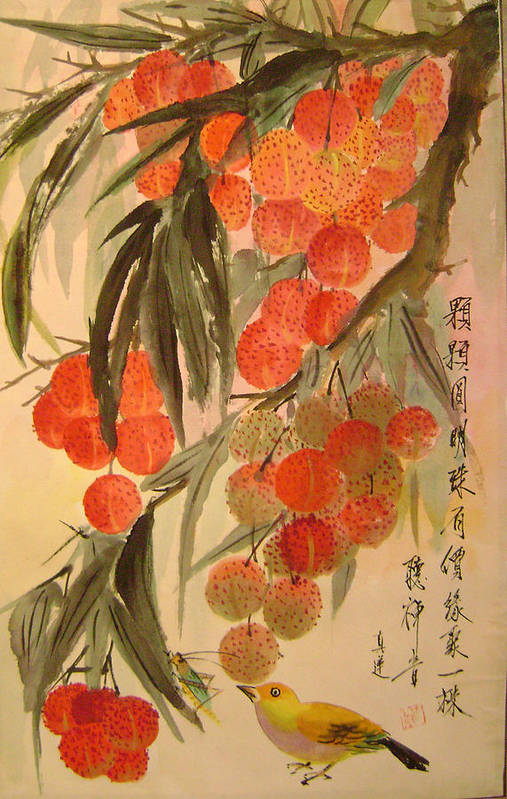 Water Colour Art Print featuring the painting Under The Lichee Tree by Lian Zhen