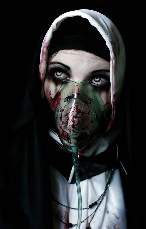 Nun Sister Evil Satanic Bloody Diseased Horror Scary Ill Plague Black Death Dead Aids God Worship Prayer Pray Gothic Goth Gothy Disease Deadly Blood Weep Halloween Weeping Crying Oxygen Mask Religious Religion Atheist Christian Art Print featuring the photograph Unholy by Aston Futcher
