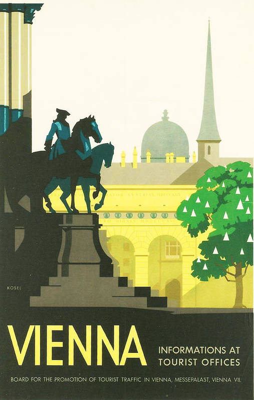 Vintage Travel Art Print featuring the digital art Vienna by Georgia Fowler
