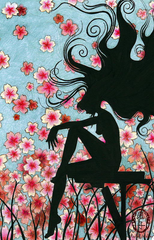 Sillouette Art Print featuring the painting Watching The Cherry Blossoms by Rachel Walker