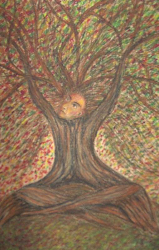 Tree Surreal Lanscape Portrait Art Print featuring the painting What Now by Sally Van Driest