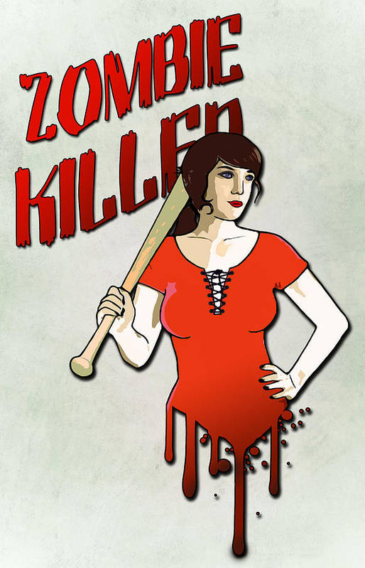 Pinup Art Print featuring the drawing Zombie Killer by Nicklas Gustafsson