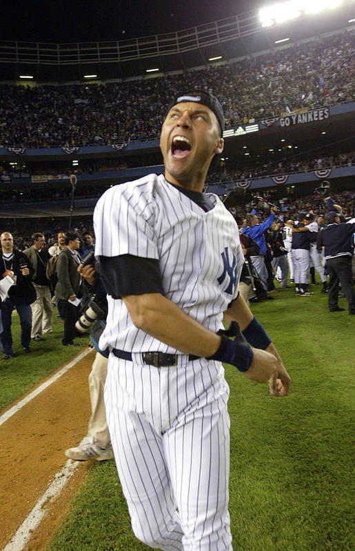 People Art Print featuring the photograph Jeter Celebrates Win by Ezra Shaw