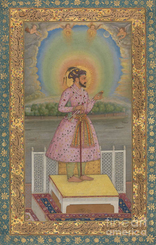 Indian Art Print featuring the painting Shah Jahan On A Terrace by Chitarman
