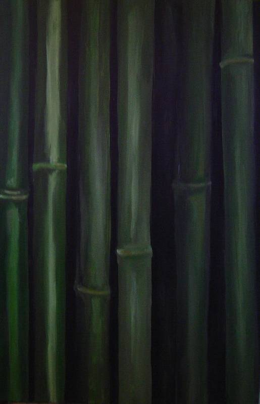 Huge Original Bamboo Art Print featuring the painting Patience by Jean Brewster