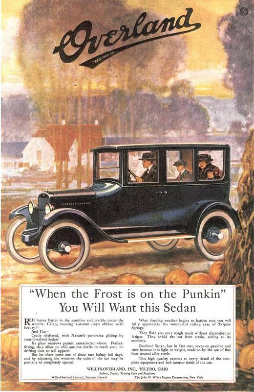 1920�s Art Print featuring the drawing 1920s Usa Overland Cars by The Advertising Archives