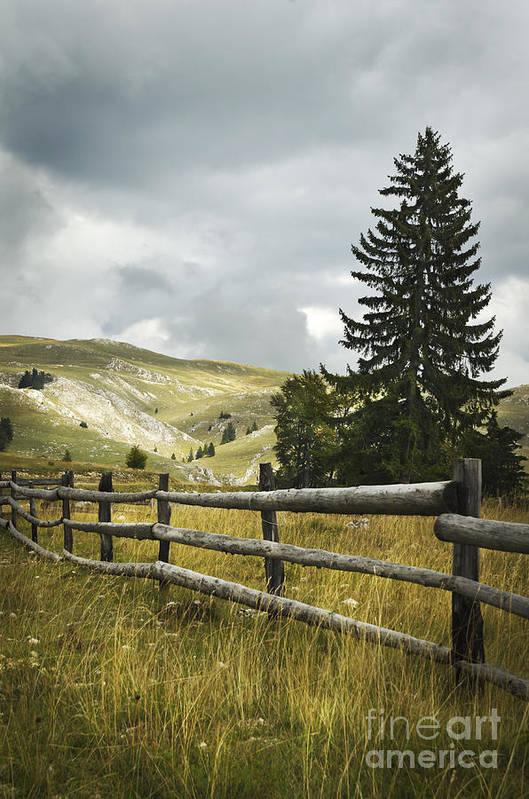 Fence Art Print featuring the pyrography Mountain Landscape by Jelena Jovanovic
